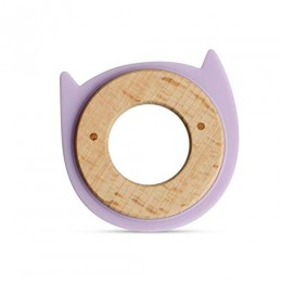 Wood + Silicone Disc Teether- Kitty