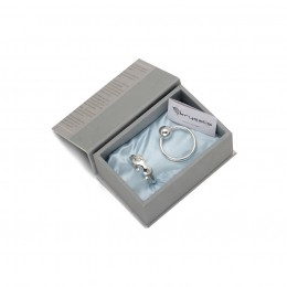 Sterling Silver Gift Set for Baby - Hamper with Bracelet and Rattle