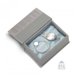 Sterling Silver Gift Set for Baby - Hamper with Feeder and Rattle