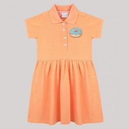 Girls Pleated Polo Dress With Donut Motif