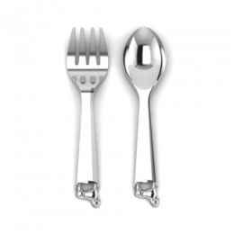Silver Plated Baby Spoon & Fork Set - Rocking Horse