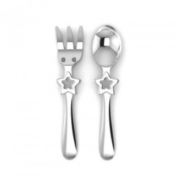 Silver Plated Baby Spoon & Fork Set - Be A Star