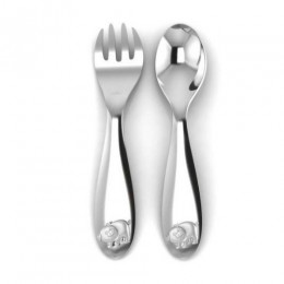 Silver Plated Baby Spoon & Fork Set - Cute Piggy