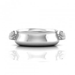 Silver Plated Bowl for Baby and Child - Piggy Handle Feeding Porringer