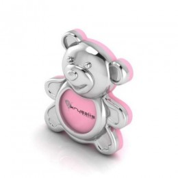Silver Plated Teddy Photo Frame - Pink