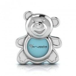 Silver Plated Teddy Photo Frame for Baby and Kids - Blue