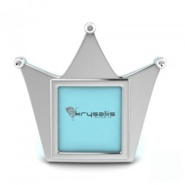 Silver Plated Crown Photo Frame for Baby and Kids - Blue