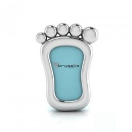 Silver Plated Foot Photo Frame for Baby and Kids - Blue