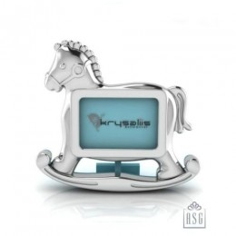 Silver Plated Photo Frame for Baby and Kids - Rocking Horse, Blue