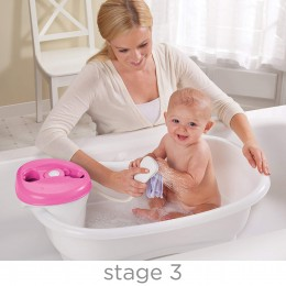 Newborn To Toddler Bath Tub Center and Shower - Pink