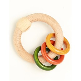 Wooden Rattle - Circular Colored