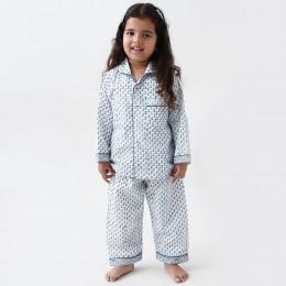 Jade Blockprint Pajama Set (Indigo)