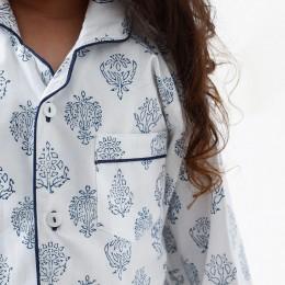 Madison Blockprint Pajama Set (Indigo)