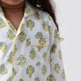 Madison Blockprint Pajama Set (Yellow)