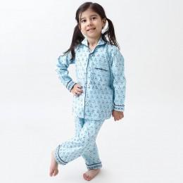 Lily Blockprint Pajama Set (English Blue)
