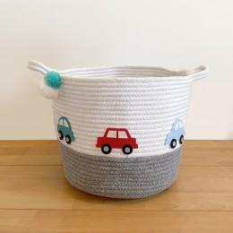 Little Cars - Grey Rope Personalised Storage Basket