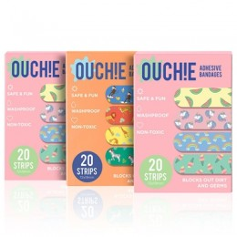 Ouchie Non-Toxic Printed Bandages TRIPLE COMBO (3 x 20= 60 Pack)- (2 x PINK & 1 x ORANGE)