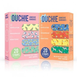 Ouchie Non-Toxic Printed Bandages COMBO Set of 2 (2 x 20= 40 Pack)- (PINK & ORANGE)