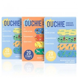 Ouchie Non-Toxic Printed Bandages TRIPLE COMBO (3 x 20= 60 Pack)- (2 x BLUE & 1 x ORANGE)