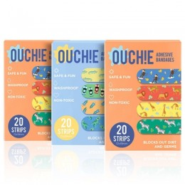 Ouchie Non-Toxic Printed Bandages TRIPLE COMBO (3 x 20= 60 Pack)- (2 x ORANGE & 1 x BLUE)