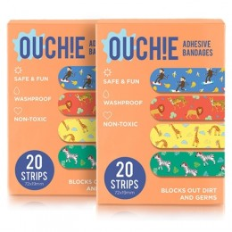 Ouchie Non-Toxic Printed Bandages COMBO Set of 2 (2 x 20= 40 Pack)- (ORANGE)
