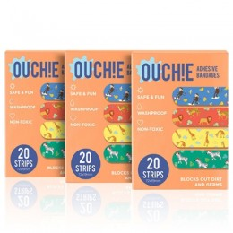 Ouchie Non-Toxic Printed Bandages COMBO Set of 3 (3 x 20= 60 Pack)- (Orange)