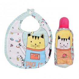 Bib & Bottle Cover Set - Space Cat