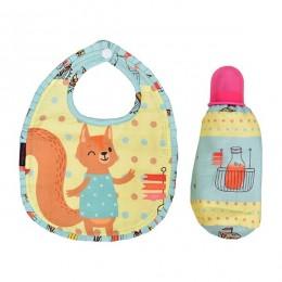 Bib & Bottle Cover Set - Squirrel