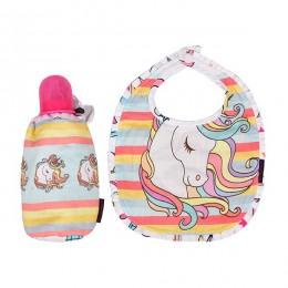 Bib & Bottle Cover Set - Pink Unicorn