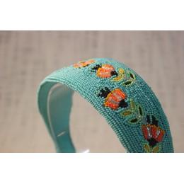 Orange & Yellow Flower Beads Headband