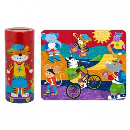 Tin Bank With Puzzle Tiger