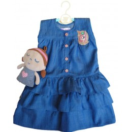 Magical Wings : Blue Three Tiered Dress With Embroidered Unicorn Patch