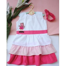 Blush It Up : White And Pink Three Tiered Dress With Peppa Pig Patch