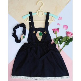 I' SCREAM : Dark Blue Dungaree Dress With Ice Cream Patch
