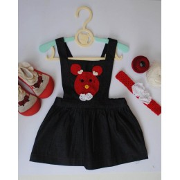 Mischievous Mouse : Dark Blue Dungaree Dress With Mickey Patch