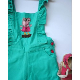 Sea Secrets : Aqua Green Dungaree With Peppa Pig Patch