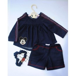 Welcome To The Club House : Dark Blue Shorts Set With Mickey Patch