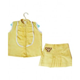 Chic Dreams : Yellow Top And Skirt Set With Butterfly Patch
