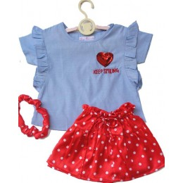 Dot It Up : Denim Top And Red Polka Satin Skirt Set