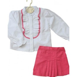 Chic Me : White Frill Top And A Pink Box Pleated Skirt Set