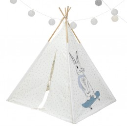 Rabbit Motif Powder Blue Dots  - Teepee Tent