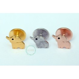 Silver kurta buttons - Elephant
