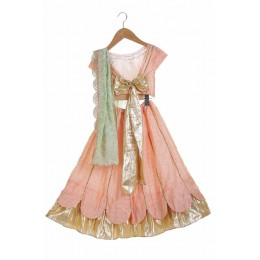 Scallop Lehnga With Bow Back Blouse And Embellished Dupatta