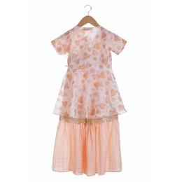 Printed Angrakha Style Top With Embellished Sharara Pants