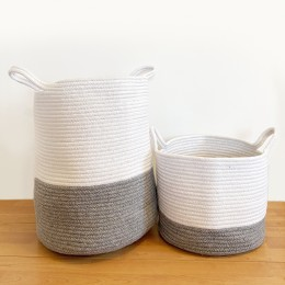 Grey Cotton Rope Storage Basket