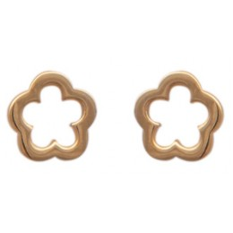 Gold Plated Studs Earrings - Flower Stencil