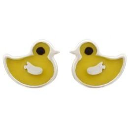 Enamelled Studs Earrings - Ducklings