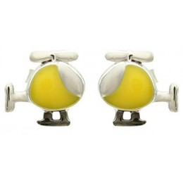 Enamelled Studs Earrings - Helicopter