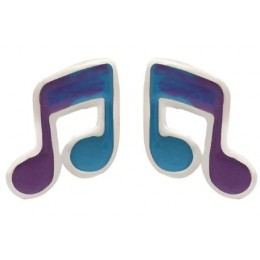 Enamelled Studs Earrings - Music Notes