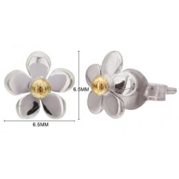 Gold Plated Studs Earrings - Flower (White Rhodium)